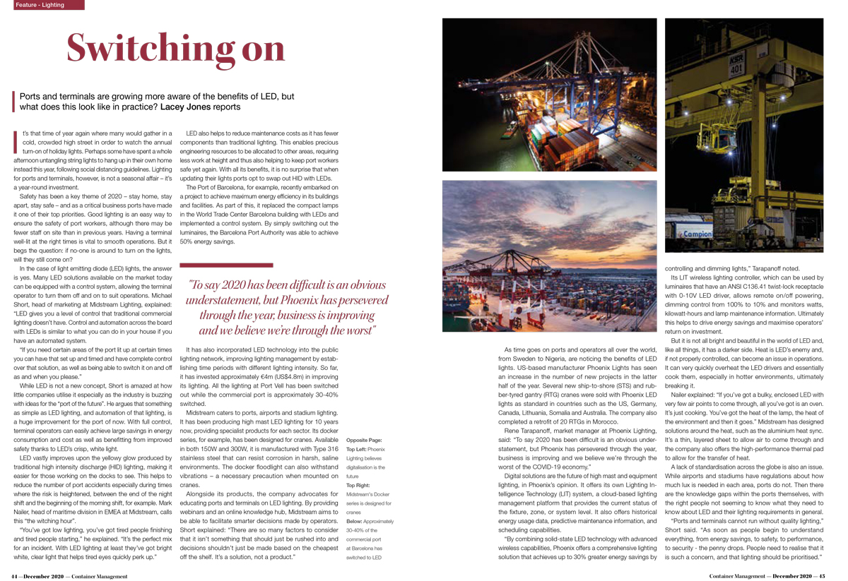 Ports and Terminals are growing more aware of the benefits of LED